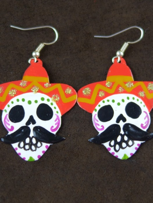 TIN DAY OF THE DEAD EARRINGS 'PEPE'