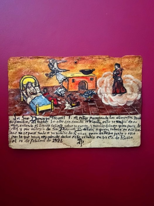 ORIGINAL EX-VOTO RETABLO OIL ON TIN ~ PUEBLA 1927