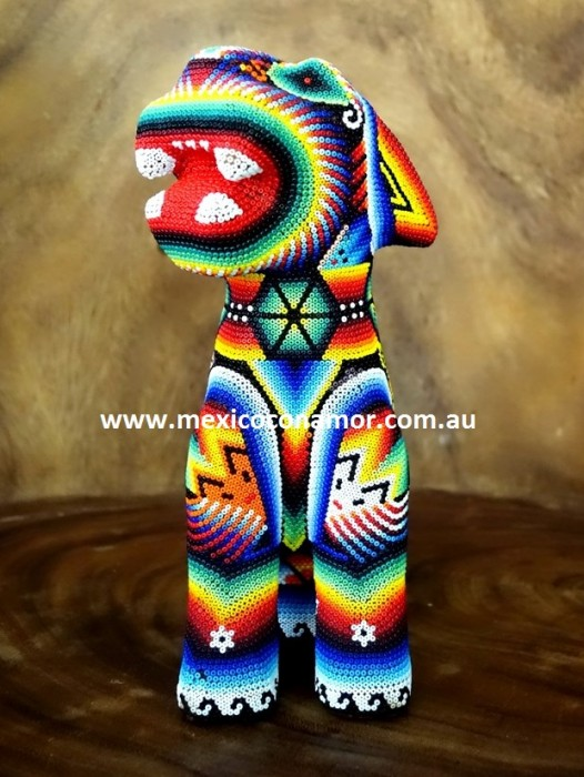 LARGE HUICHOL HAND BEADED WOODEN JAGUAR
