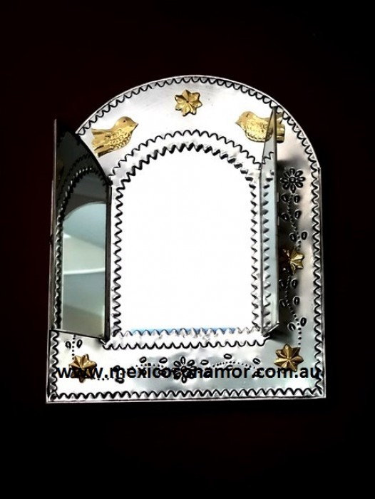 LARGE HAND PRESSED TIN WINDOW MIRROR