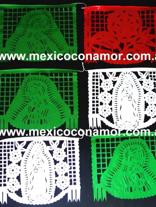 EX LARGE MEXICAN PICADO FLAGS – VIRGIN DE GUADALUPE
