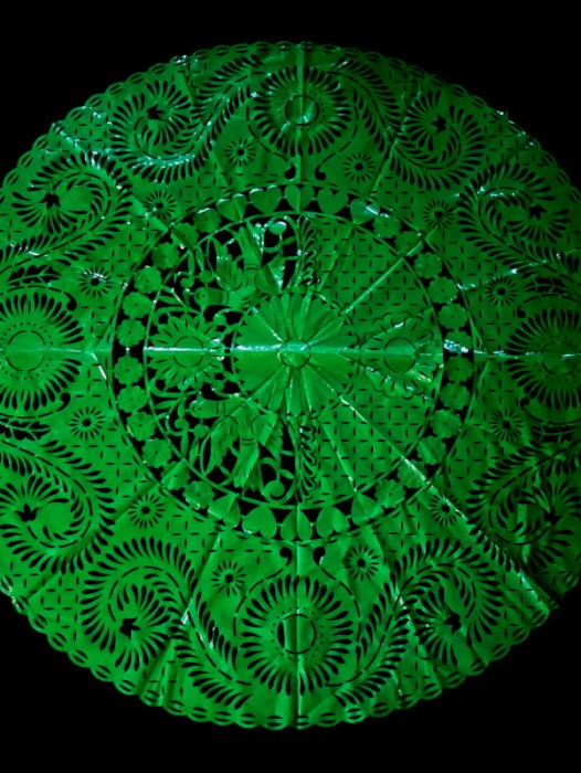ROUND PAPEL PICADO PLASTIC DECORATIVE TABLECLOTH
