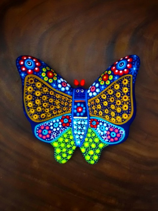 NAHUATL PAINTED CLAY BUTTERFLY ~ MEDIUM