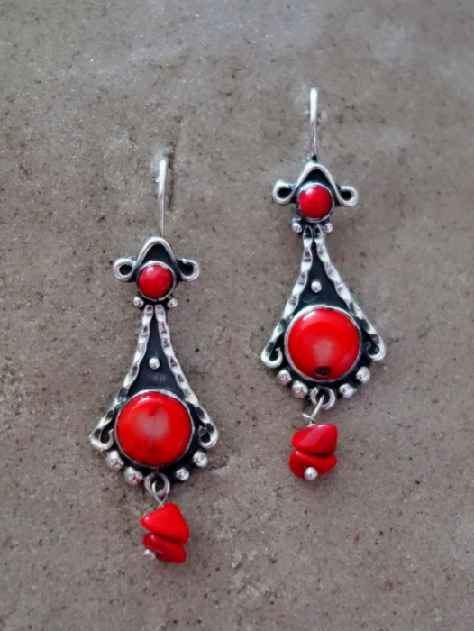 TAXCO MEXICAN 925 SILVER EARRINGS WITH RED CORAL