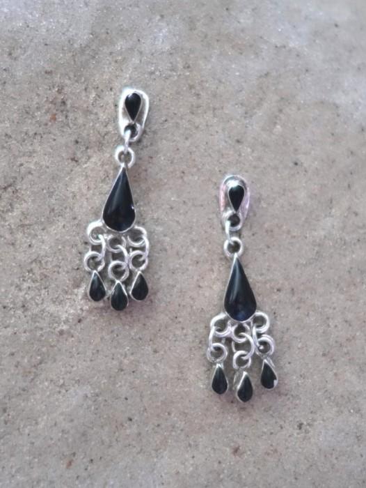 TAXCO MEXICAN 925 SILVER & ONYX TEARDROP EARRINGS