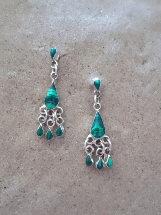 TAXCO MEXICAN 925 SILVER & MALACHITE TEARDROP EARRINGS