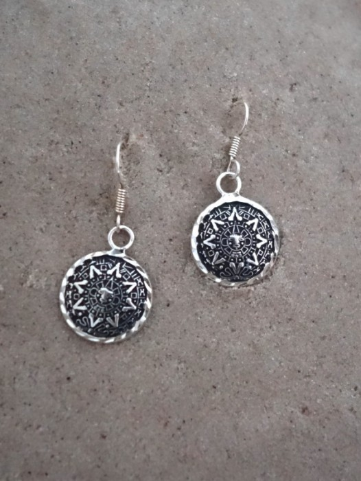 TAXCO MEXICAN 925 SILVER AZTEC CALENDAR EARRINGS
