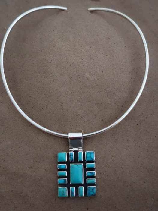TAXCO MEXICAN 925 SILVER MOSAIC TURQUOISE PENDANT