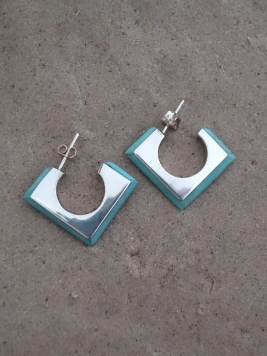 TAXCO MEXICAN 925 SILVER & GREENSTONE EARRINGS