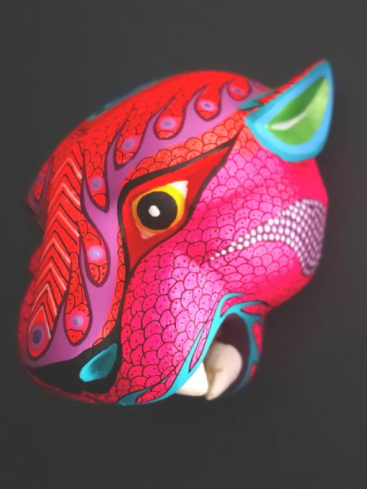 MEDIUM WOODEN ALEBRIJE JAGUAR HEAD