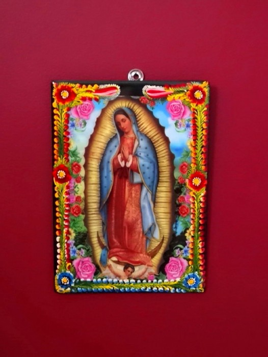 "LARGE ""VIRGEN DE GUADALUPE"" HANDPAINTED PLAQUE"