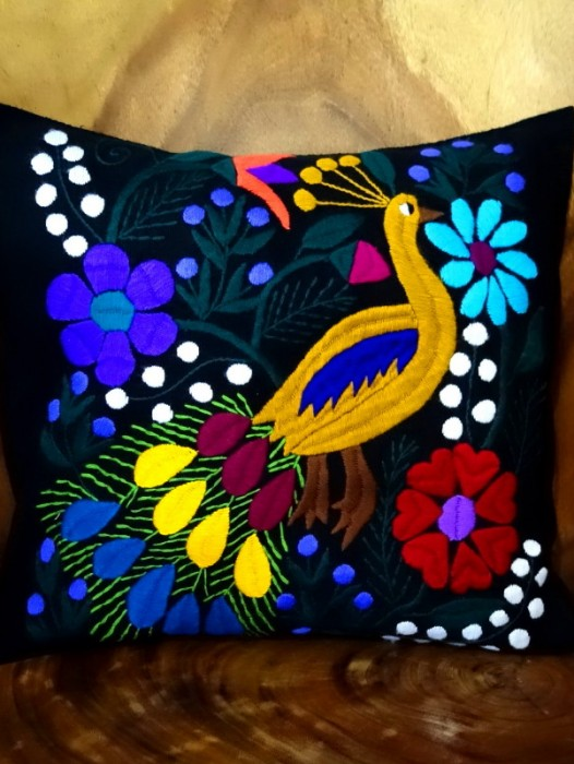 HAND EMBROIDERED CUSHION COVER ~ PEACOCK