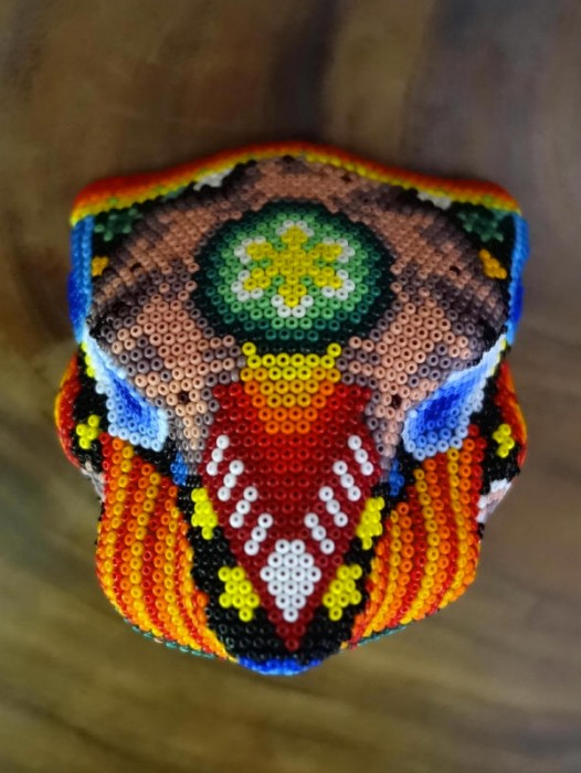 HUICHOL SHAMAN HAND BEADED JAGUAR HEAD ~ PEYOTE