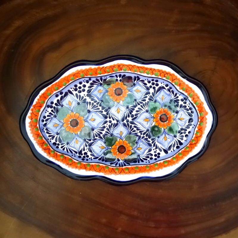 Handmade Ceramic Platter In Coastal Kitchen: MEDIUM OVAL TALAVERA PLATTER ~ NARANJA