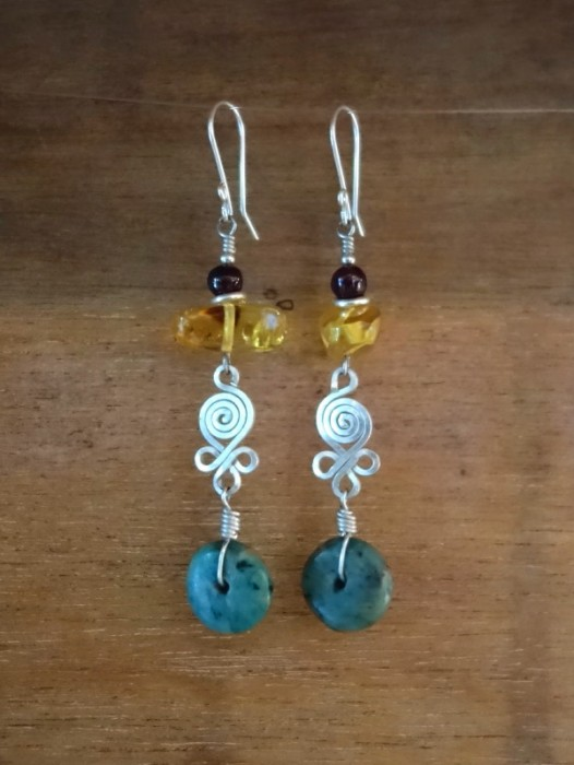 MAYA EARRINGS WITH JADE & AMBER