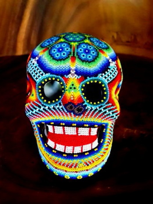 LARGE HUICHOL SHAMAN BEADED SUGAR SKULL