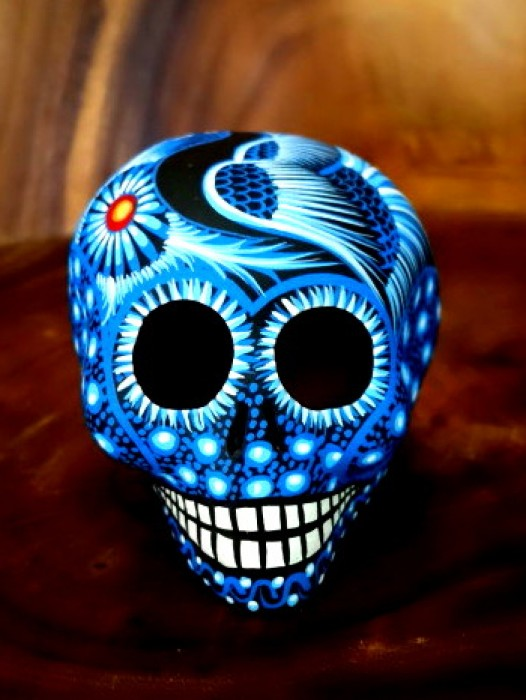 LARGE CERAMIC CHICANO SUGAR SKULL ~ BLUE