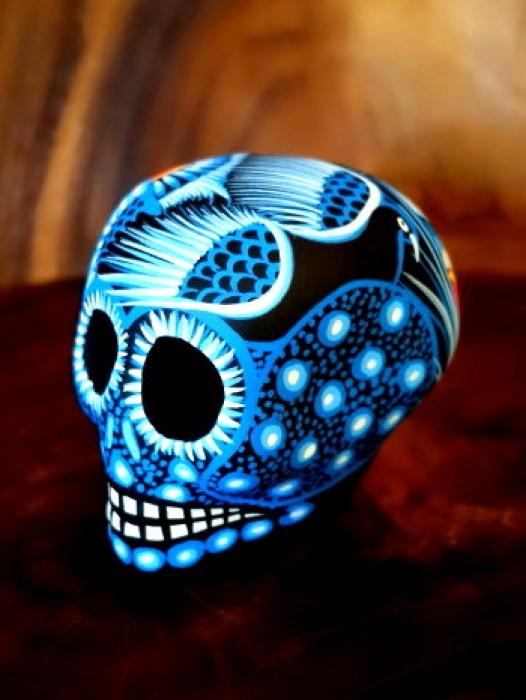 MEDIUM CERAMIC CHICANO SUGAR SKULL ~ BLUE