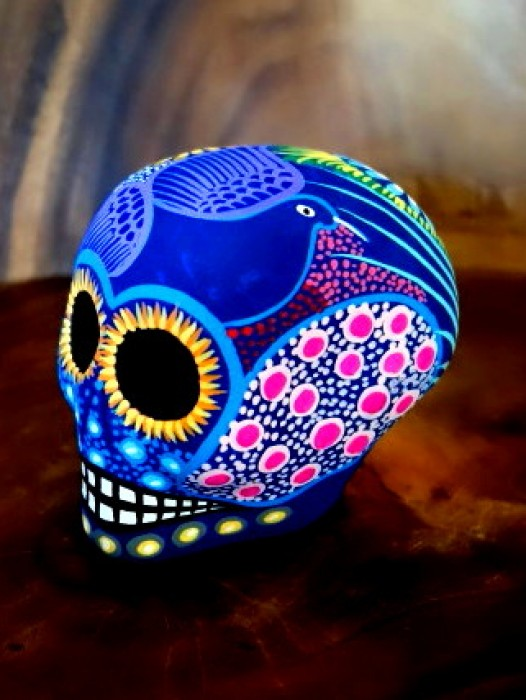 MEDIUM CERAMIC CHICANO SUGAR SKULL ~ RAINBOW
