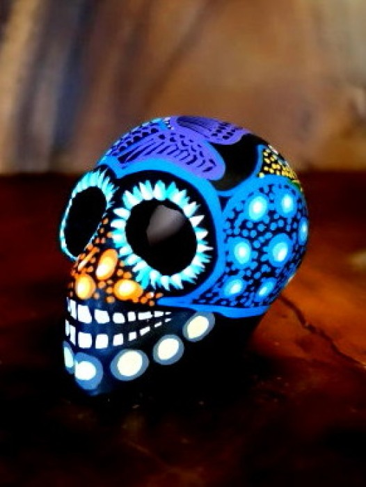 SMALL CERAMIC CHICANO SUGAR SKULL ~ RAINBOW