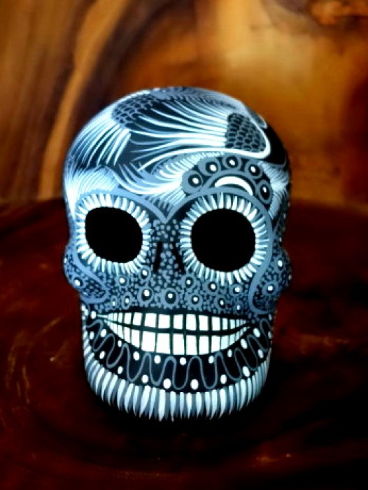 EX LARGE CERAMIC CHICANO SUGAR SKULL ~ MONOCHROME
