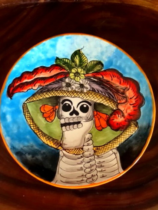 XL TALAVERA PLATTER ~ DAY OF THE DEAD CATRINA